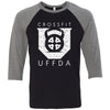 CrossFit UFFDA - 100 - Standard - Bella + Canvas - Men's Three-Quarter Sleeve Baseball T-Shirt