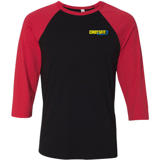 CrossFit Parramatta - 100 -  Pocket - Bella + Canvas - Men's Three-Quarter Sleeve Baseball T-Shirt