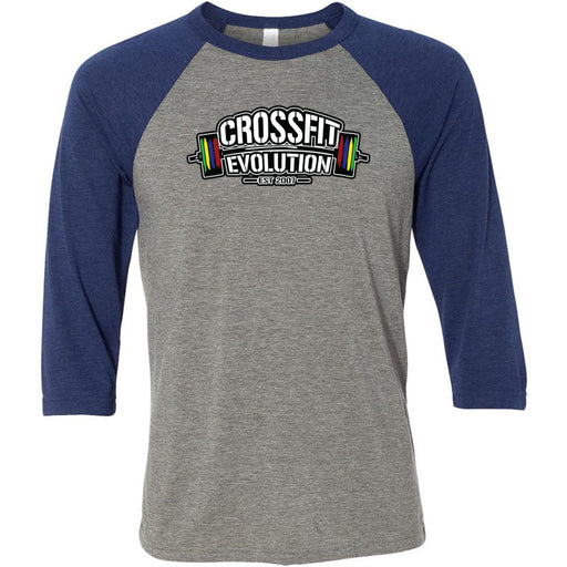 CrossFit Evolution - 100 - Standard - Bella + Canvas - Men's Three-Quarter Sleeve Baseball T-Shirt