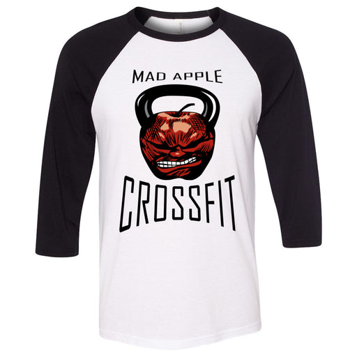 Mad Apple CrossFit - 100 - Standard - Bella + Canvas - Men's Three-Quarter Sleeve Baseball T-Shirt