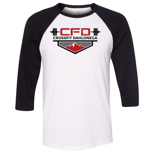 CrossFit Dahlonega - 100 - Standard - Bella + Canvas - Men's Three-Quarter Sleeve Baseball T-Shirt