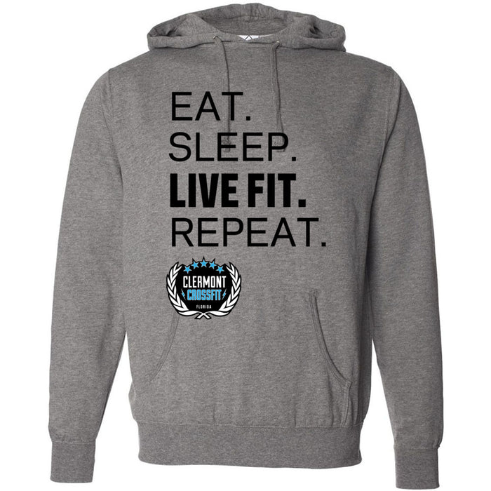 Clermont CrossFit - 201 - Live Fit Repeat - Independent - Hooded Pullover Sweatshirt