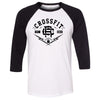 CrossFit Riverside - 100 - CFR - Bella + Canvas - Men's Three-Quarter Sleeve Baseball T-Shirt