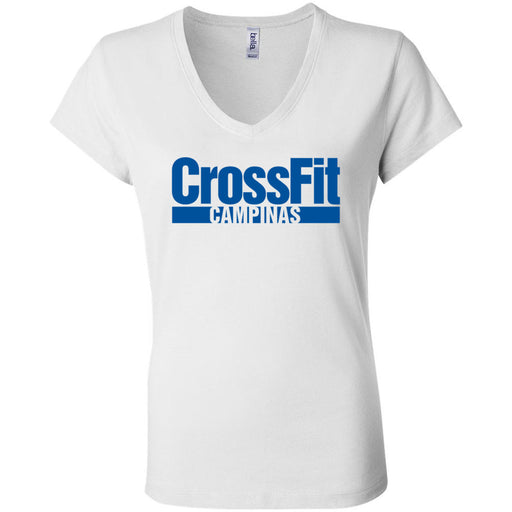 CrossFit Campinas - 100 - Blue - Bella + Canvas - Women's Short Sleeve Jersey V-Neck Tee