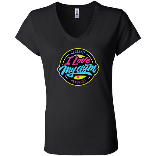 CrossFit Beaumont - 100 - I Love My Gym - Bella + Canvas - Women's Short Sleeve Jersey V-Neck Tee