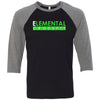 Elemental CrossFit - 202 - Standard - Bella + Canvas - Men's Three-Quarter Sleeve Baseball T-Shirt