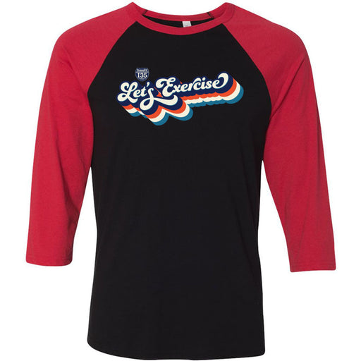 CrossFit I35 - 100 - Let's Exercise - Bella + Canvas - Men's Three-Quarter Sleeve Baseball T-Shirt
