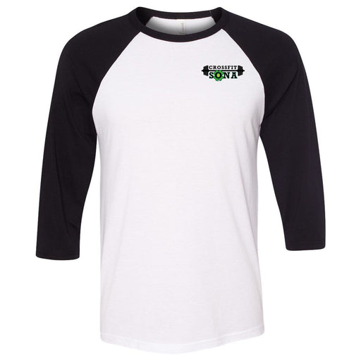 CrossFit Sona - 100 - Pocket - Bella + Canvas - Men's Three-Quarter Sleeve Baseball T-Shirt