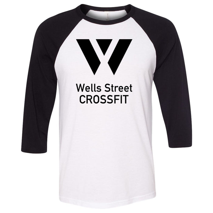 Wells Street CrossFit - 100 - Stacked - Bella + Canvas - Men's Three-Quarter Sleeve Baseball T-Shirt