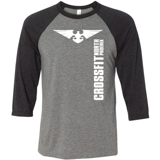 CrossFit North Phoenix - 202 - Let The Gains Begin - Bella + Canvas - Men's Three-Quarter Sleeve Baseball T-Shirt