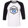 CrossFit 350 - 100 - Standard - Bella + Canvas - Men's Three-Quarter Sleeve Baseball T-Shirt