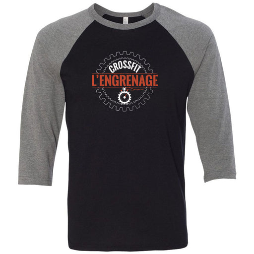 CrossFit L'Engrenage - 100 - Orange - Bella + Canvas - Men's Three-Quarter Sleeve Baseball T-Shirt