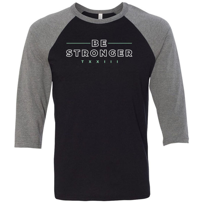 CrossFit TXXIII - 202 - Be Stronger - Bella + Canvas - Men's Three-Quarter Sleeve Baseball T-Shirt