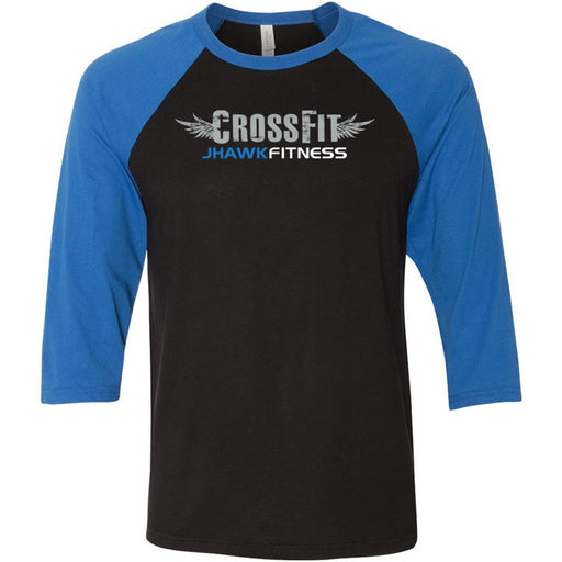 CrossFit Jhawkfitness - 100 - Standard - Bella + Canvas - Men's Three-Quarter Sleeve Baseball T-Shirt