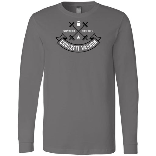 CrossFit Vashon - 100 - Black and White - Bella + Canvas 3501 - Men's Long Sleeve Jersey Tee