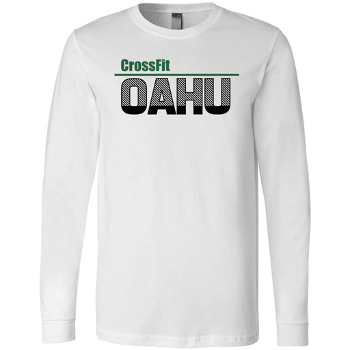 CrossFit Oahu - 202 - HI Green Black - Bella + Canvas 3501 - Men's Long Sleeve Jersey Tee