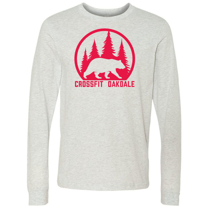 CrossFit Oakdale - 100 - Calibear Red - Bella + Canvas 3501 - Men's Long Sleeve Jersey Tee