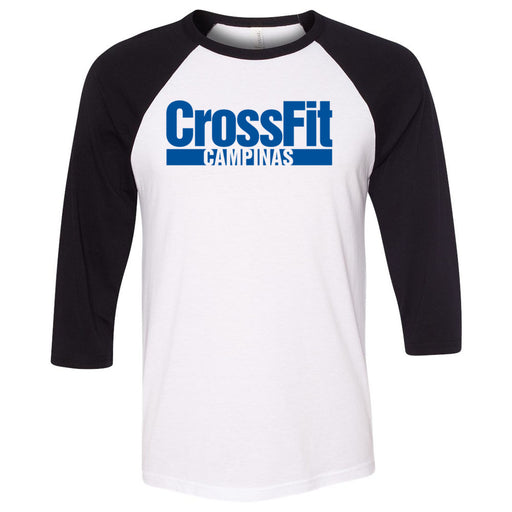 CrossFit Campinas - 100 - Blue - Bella + Canvas - Men's Three-Quarter Sleeve Baseball T-Shirt