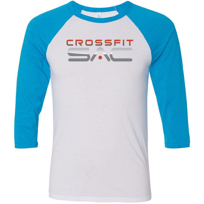 CrossFit SAC - 100 - Red & Silver - Bella + Canvas - Men's Three-Quarter Sleeve Baseball T-Shirt