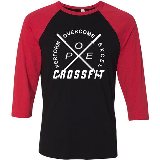 Perform Overcome Excel CrossFit - 100 - White - Bella + Canvas - Men's Three-Quarter Sleeve Baseball T-Shirt