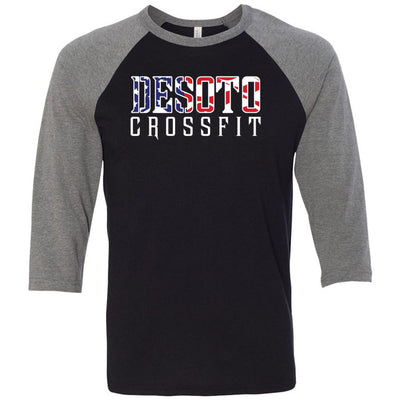 DeSoto CrossFit - 100 - Flag - Bella + Canvas - Men's Three-Quarter Sleeve Baseball T-Shirt