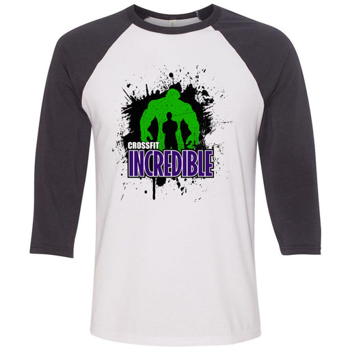 CrossFit Incredible - 100 - Standard - Bella + Canvas - Men's Three-Quarter Sleeve Baseball T-Shirt