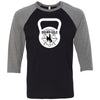 CrossFit BrownNGold - 100 - Kettlebell - Bella + Canvas - Men's Three-Quarter Sleeve Baseball T-Shirt