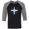 CrossFit Saint Simons - 100 - Standard - Bella + Canvas - Men's Three-Quarter Sleeve Baseball T-Shirt