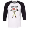 CrossFit Inua - 100 - Barbell - Bella + Canvas - Men's Three-Quarter Sleeve Baseball T-Shirt