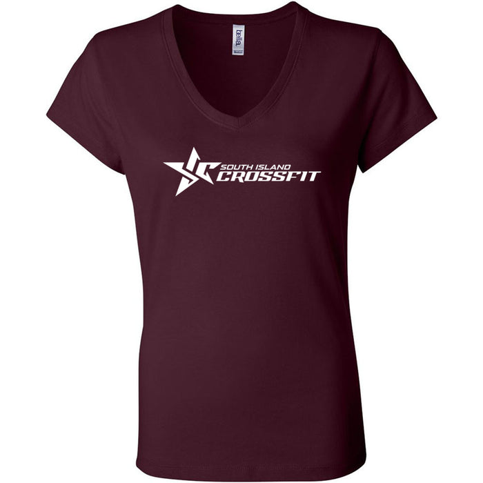 South Island CrossFit - 100 - Stacked - Bella + Canvas - Women's Short Sleeve Jersey V-Neck Tee