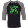 Steel Mill CrossFit Fleming Island - 100 - Beast Mode - Bella + Canvas - Men's Three-Quarter Sleeve Baseball T-Shirt