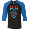 CrossFit Beaumont - 100 - 2020 Open 20.2 - Bella + Canvas - Men's Three-Quarter Sleeve Baseball T-Shirt