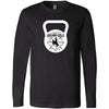 CrossFit BrownNGold - 100 - Kettlebell - Bella + Canvas 3501 - Men's Long Sleeve Jersey Tee