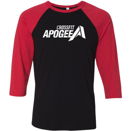 Crossfit Apogee - 100 - White - Bella + Canvas - Men's Three-Quarter Sleeve Baseball T-Shirt