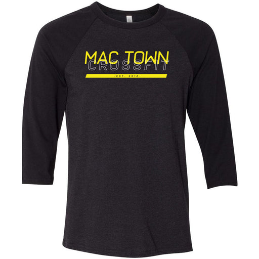 Mac Town CrossFit - 100 - Black and Yellow - Bella + Canvas - Men's Three-Quarter Sleeve Baseball T-Shirt