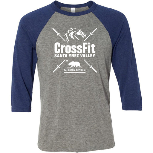 CrossFit Santa Ynez Valley - 100 - Barbell - Bella + Canvas - Men's Three-Quarter Sleeve Baseball T-Shirt