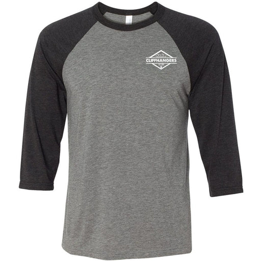 CrossFit Cliffhangers - 100 - Pocket - Bella + Canvas - Men's Three-Quarter Sleeve Baseball T-Shirt