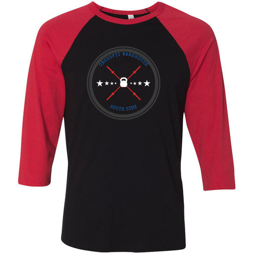 CrossFit Warehouse - 100 - Barbell - Bella + Canvas - Men's Three-Quarter Sleeve Baseball T-Shirt
