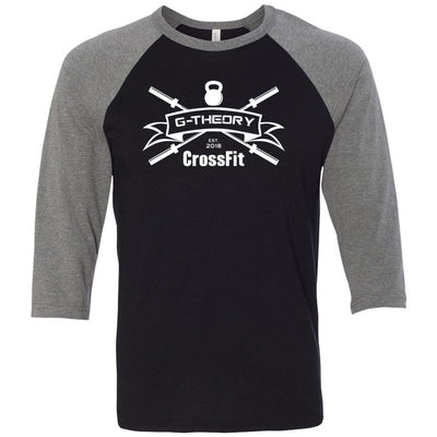 G-Theory CrossFit - 100 - One Color - Bella + Canvas - Men's Three-Quarter Sleeve Baseball T-Shirt