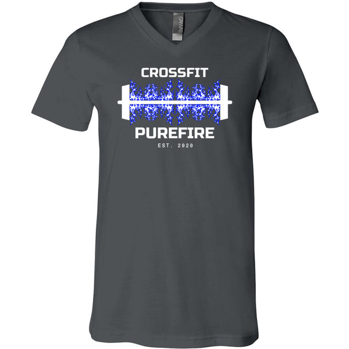 CrossFit Purefire - 100 - Barbell - Bella + Canvas - Men's Short Sleeve V-Neck Jersey Tee