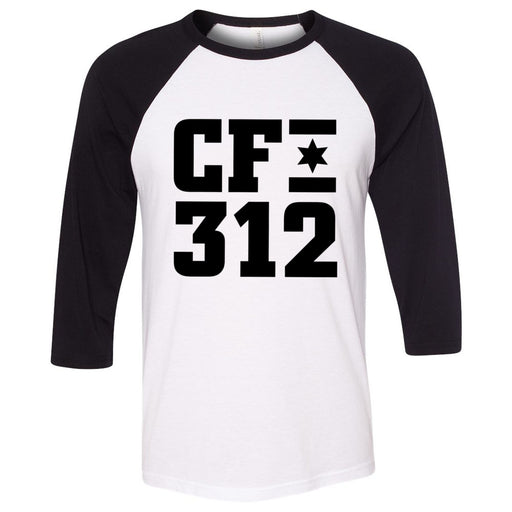 CrossFit 312 - 202 - One Color - Bella + Canvas - Men's Three-Quarter Sleeve Baseball T-Shirt