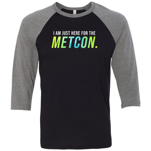 AMP Premium - 100 - Metcon-a-holic - Bella + Canvas - Men's Three-Quarter Sleeve Baseball T-Shirt