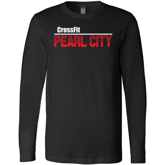 CrossFit Oahu - 202 - Pearl City Red - Bella + Canvas 3501 - Men's Long Sleeve Jersey Tee