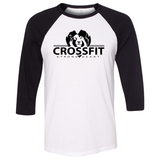 CrossFit Strong Heart - 100 - One Color - Bella + Canvas - Men's Three-Quarter Sleeve Baseball T-Shirt