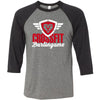 CrossFit Burlingame - 100 - Script - Bella + Canvas - Men's Three-Quarter Sleeve Baseball T-Shirt