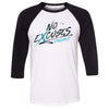 No Excuses CrossFit - 100 - Fall - Bella + Canvas - Men's Three-Quarter Sleeve Baseball T-Shirt