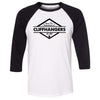 CrossFit Cliffhangers - 100 - Standard - Bella + Canvas - Men's Three-Quarter Sleeve Baseball T-Shirt