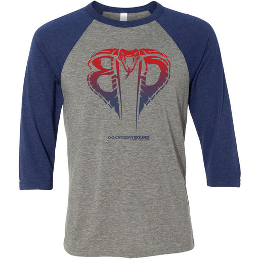 CrossFit Bound - 100 - Cobra Gradient - Bella + Canvas - Men's Three-Quarter Sleeve Baseball T-Shirt