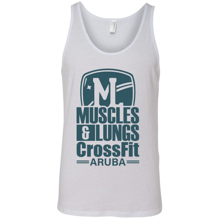 Muscles & Lungs CrossFit - 100 - Teal - Bella + Canvas - Men's Jersey Tank