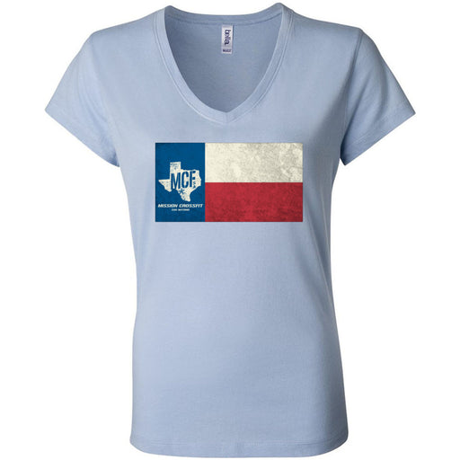 Mission CrossFit San Antonio - 100 - Flag - Bella + Canvas - Women's Short Sleeve Jersey V-Neck Tee
